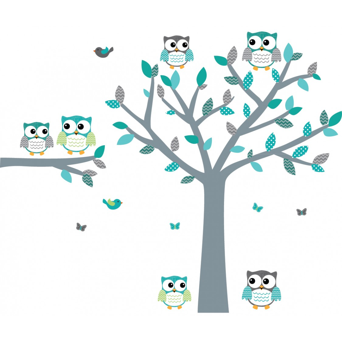 Teal owl wall decals with tree decals for boys bedrooms for Bird and owl tree wall mural set