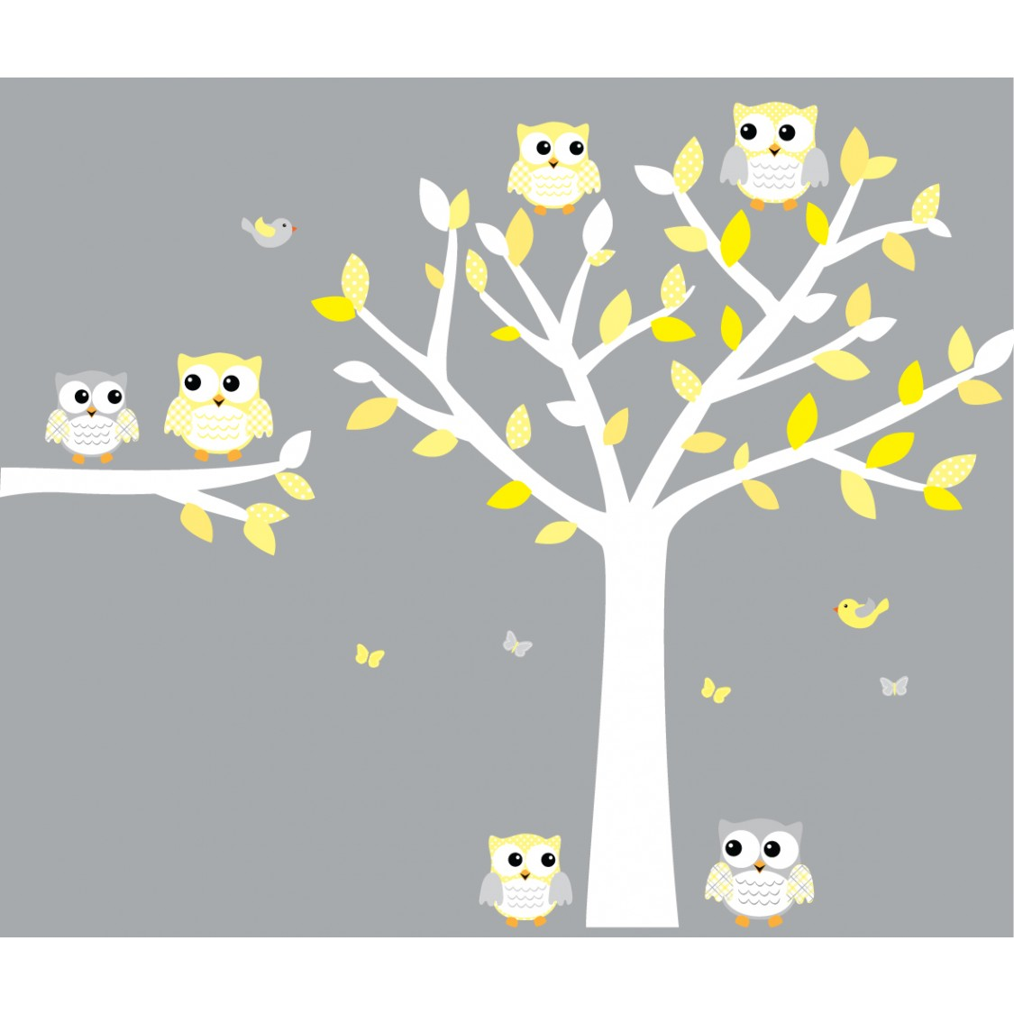 Yellow And Gray Owl Art For Kids With Tree Decal For Girls - Yellow wall decals