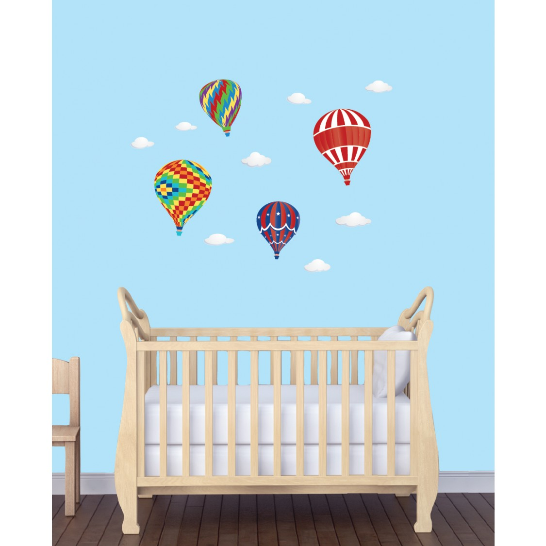 Realistic Wall Stickers For Kids Bedrooms & Hot Air Balloon Decals For Children