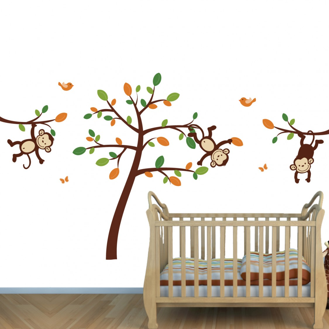 Orange Jungle Wall Decals For Nursery & Monkeys Stickers For Baby Room