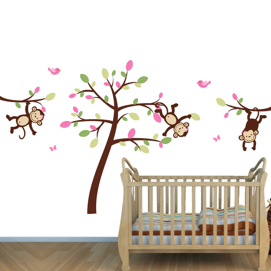Pink & Green Jungle Wall Stickers With Little Monkey Murals For Rooms