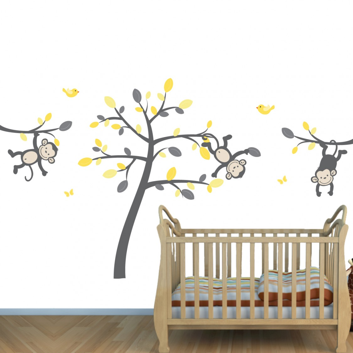 Yellow gray safari murals with monkey wall decals for for Baby jungle safari wall mural