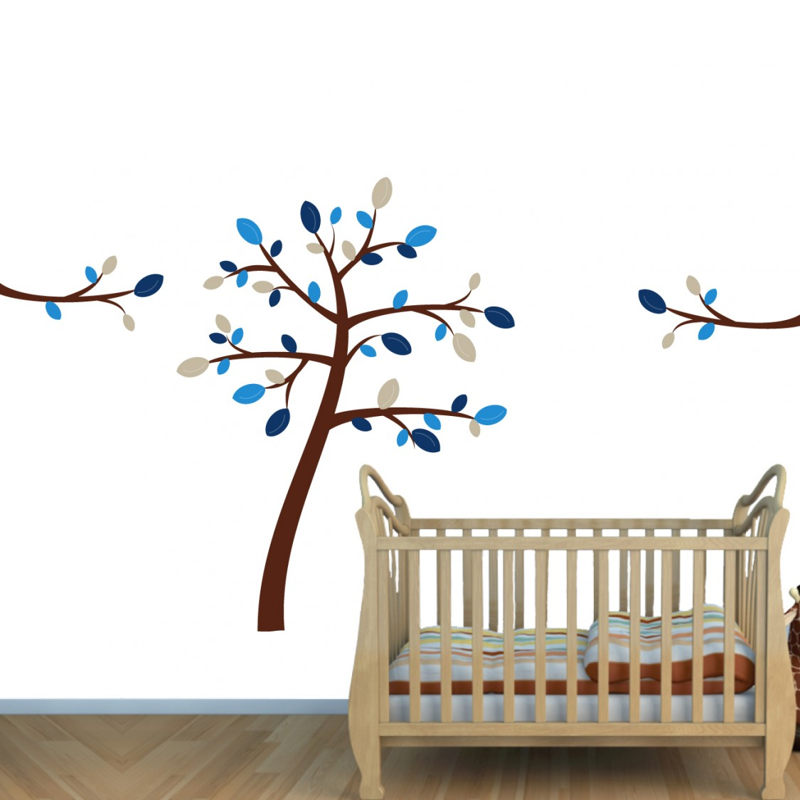Blue brown jungle wall decals with wall tree decals for for Cheap wall mural decals