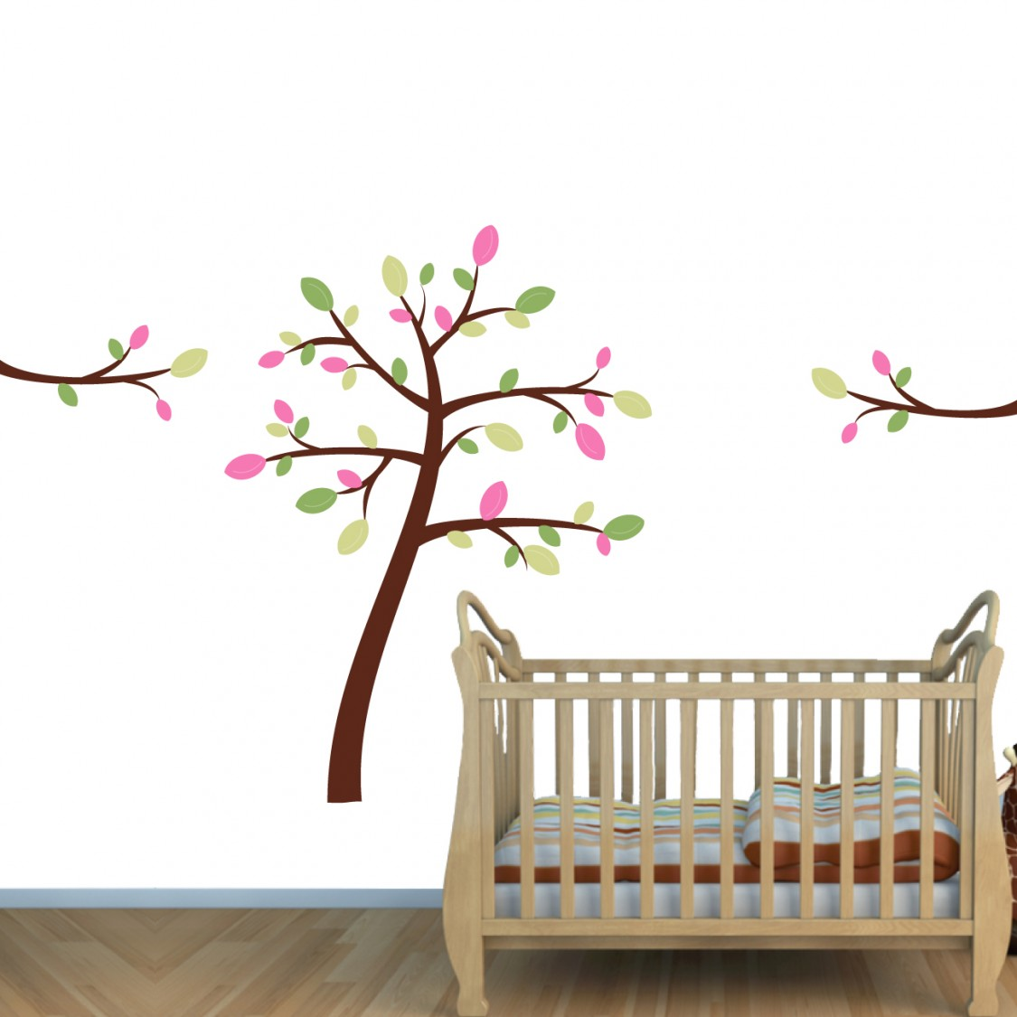 Pink & Green Jungle Murals With Stickers Tree For Girls Bedrooms