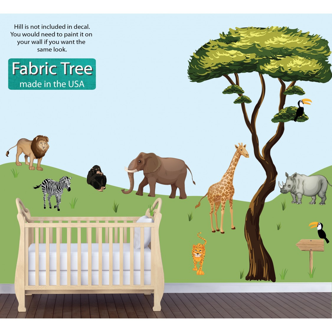 Giant Wall Stickers With Drawn Jungle Tree and Animal Sticker For Kids