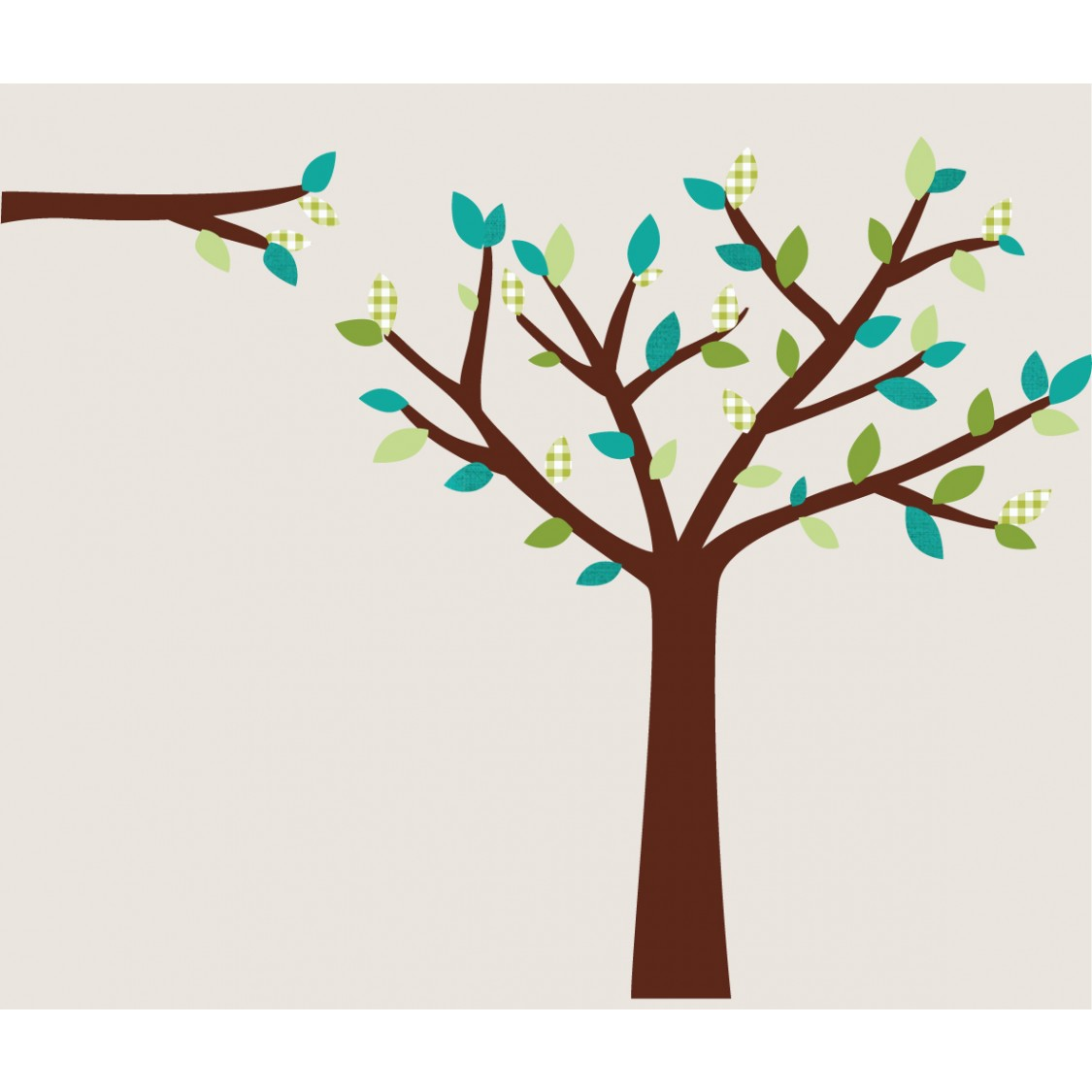 Teal and Green Tree Decals For Boys Rooms