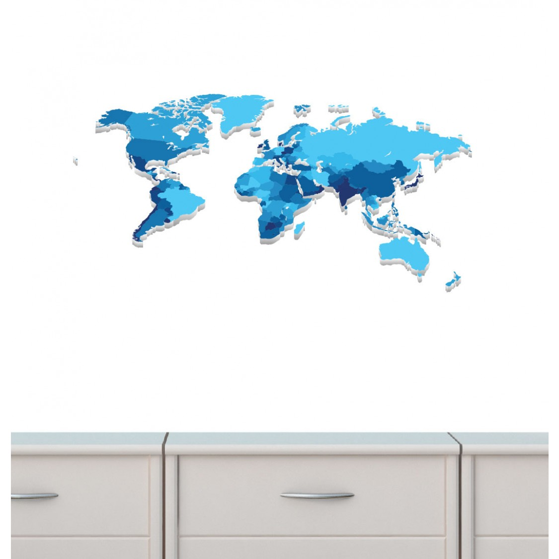 World Map Wall Decals For Boys Bedrooms  sc 1 st  Nursery Decals and More & Mini Blue World Map Wall Decal for Kids Play room