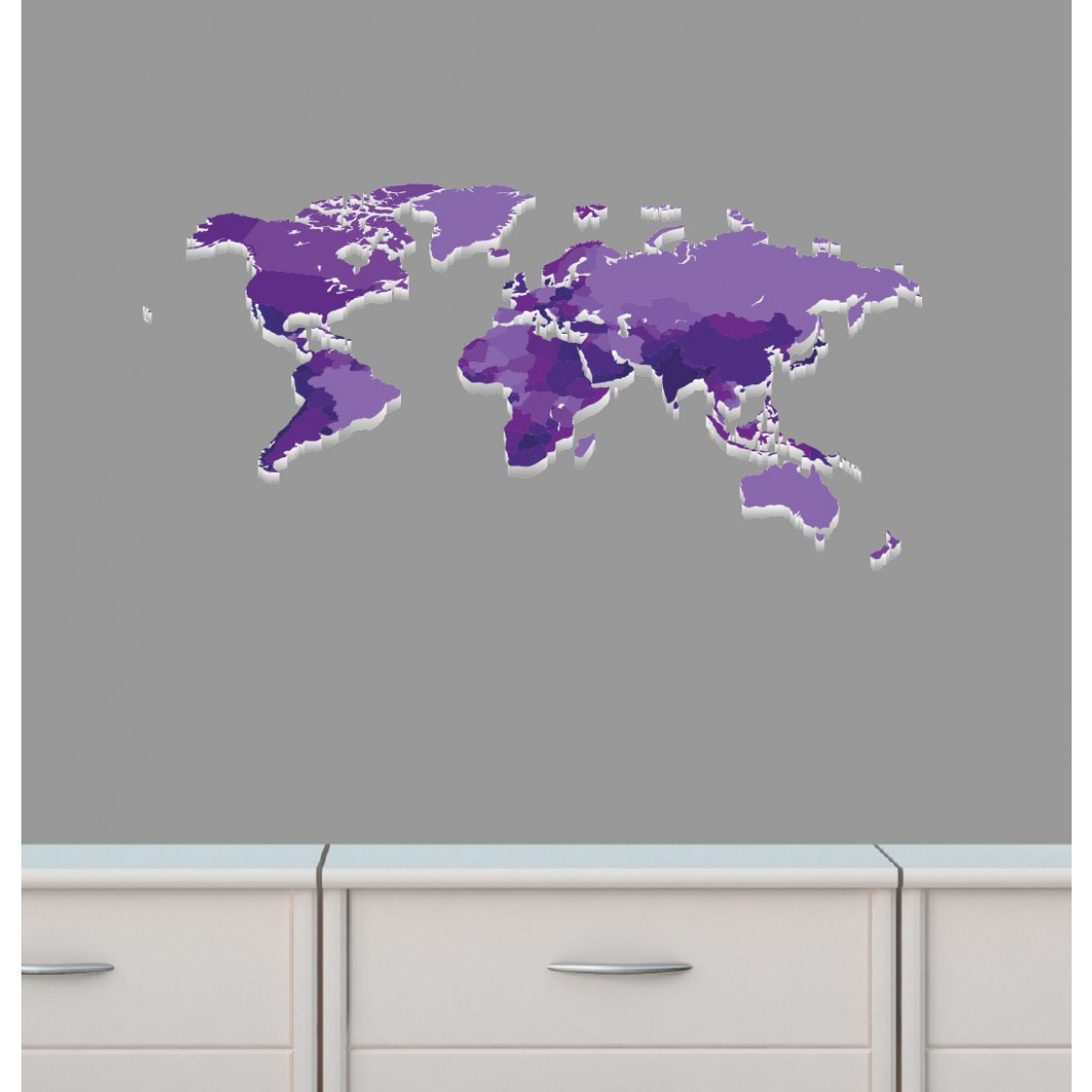 Map Of The World Stickers For Walls Mini Purple World Map Wall Decal For Girls Room