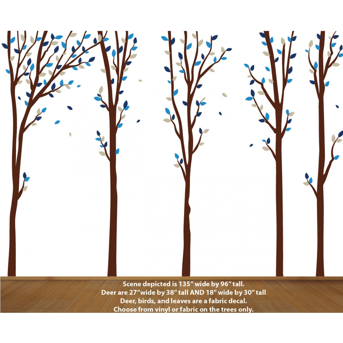 Blue Tree Wall Art For Play Rooms