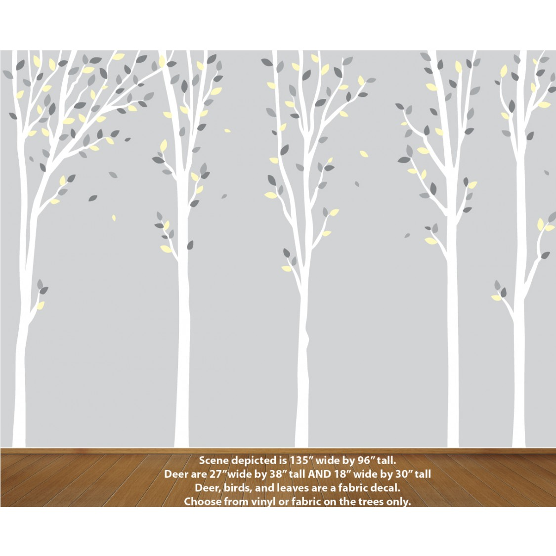 Yellow Nursery Tree Decals For Playroom