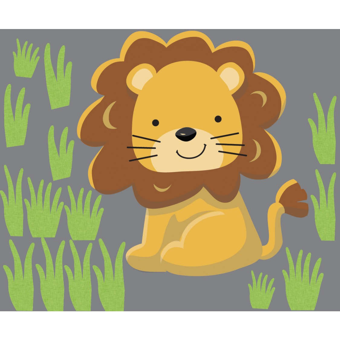 Grass and Lion Wall Decal For Play Rooms