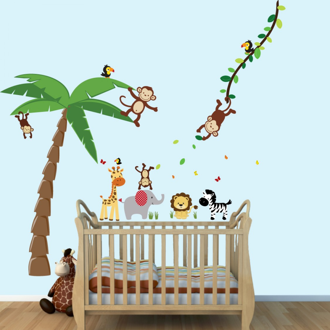 Colorful Large Wall Decor With Palm Tree Stickers For Boys Bedrooms