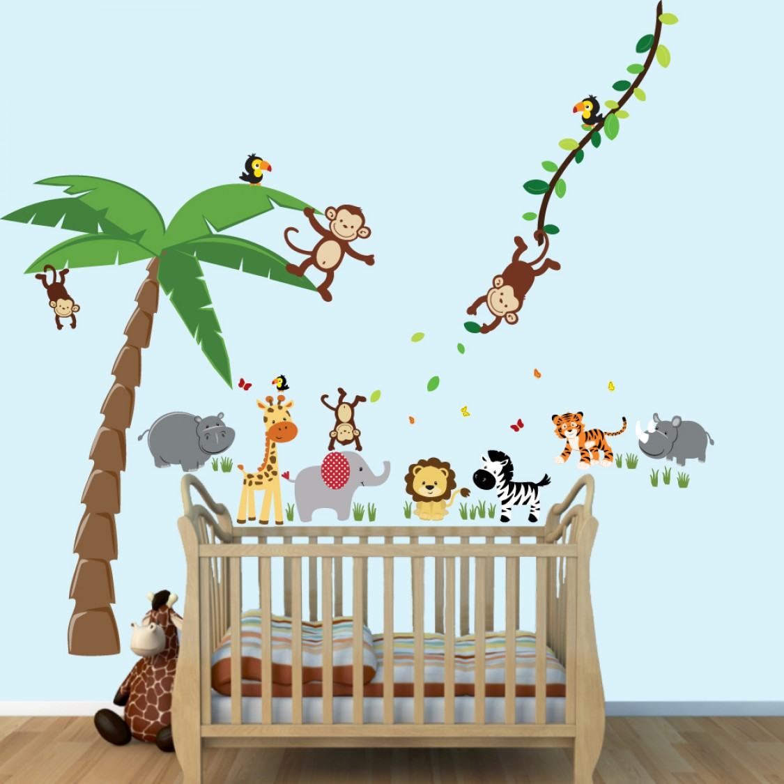 Big Wall Decals With Palm tree and Hippo Wall Art For Children