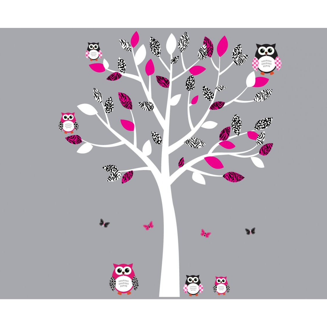 Pink And Black Owl Wall Decal With Wall Decal Tree For