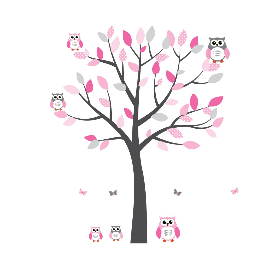 Wall Murals For Baby Rooms Pink And Grey Owl Decal With Tree Decals For Nursery For Girls