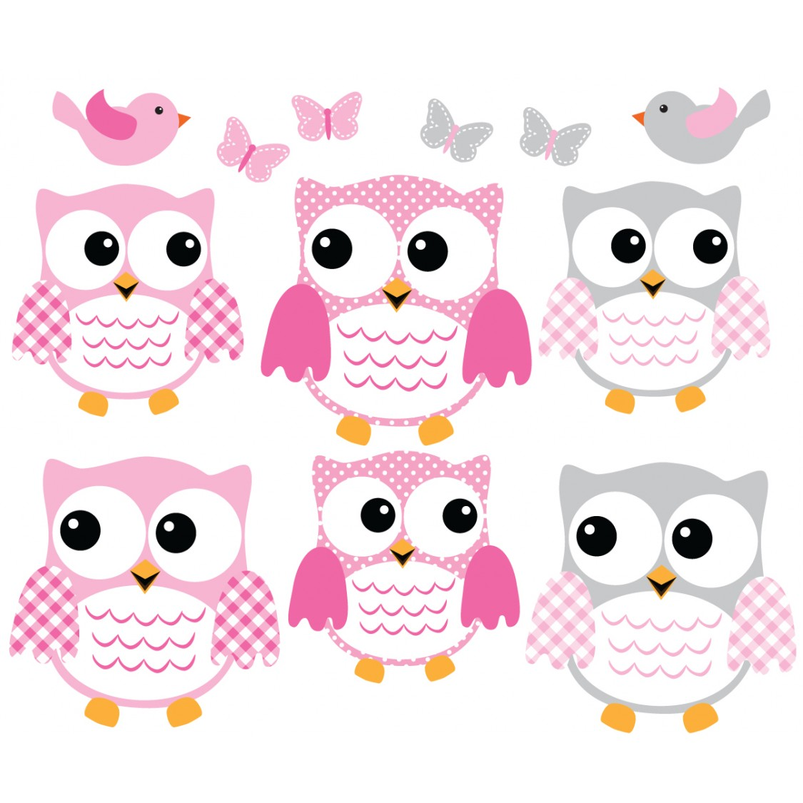 pink and gray owl wall decal with bird wall art for kids rooms - Owl Pictures For Kids