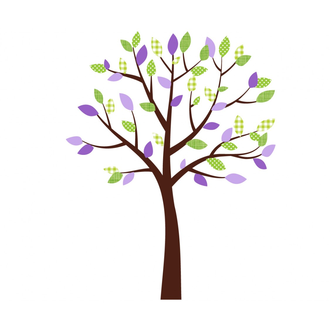 Small Purple And Green Nursery Tree Decals For Girls Bedrooms