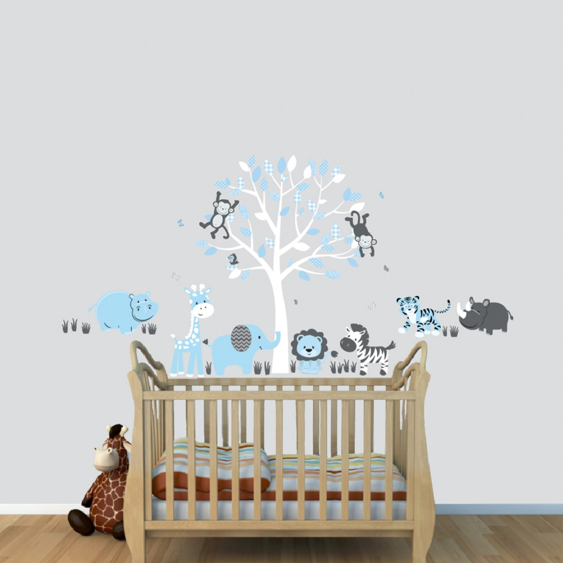 Little Boys Jungle Wall Clings With Hippo Wall Decal For Playroom