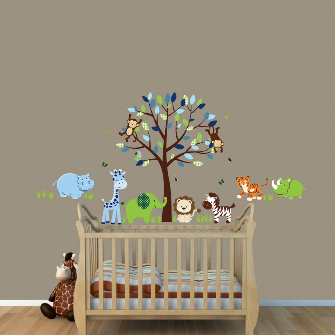 Green & Blue Jungle Tree Wall Decals With Hippo Decals For Childrens Playroom