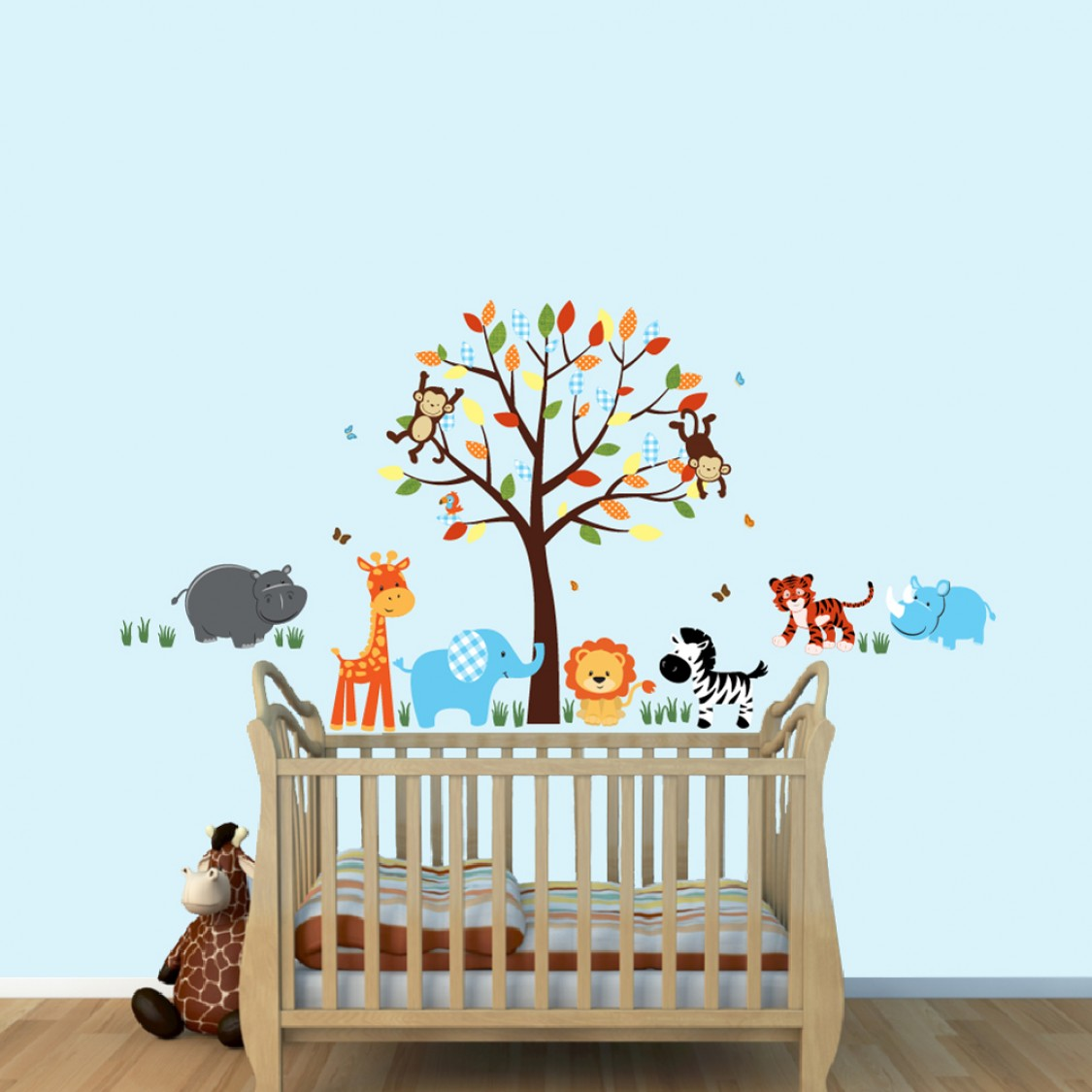 Cheerful Safari Wall Decals With Tiger Wall Decor For Childrens Playroom