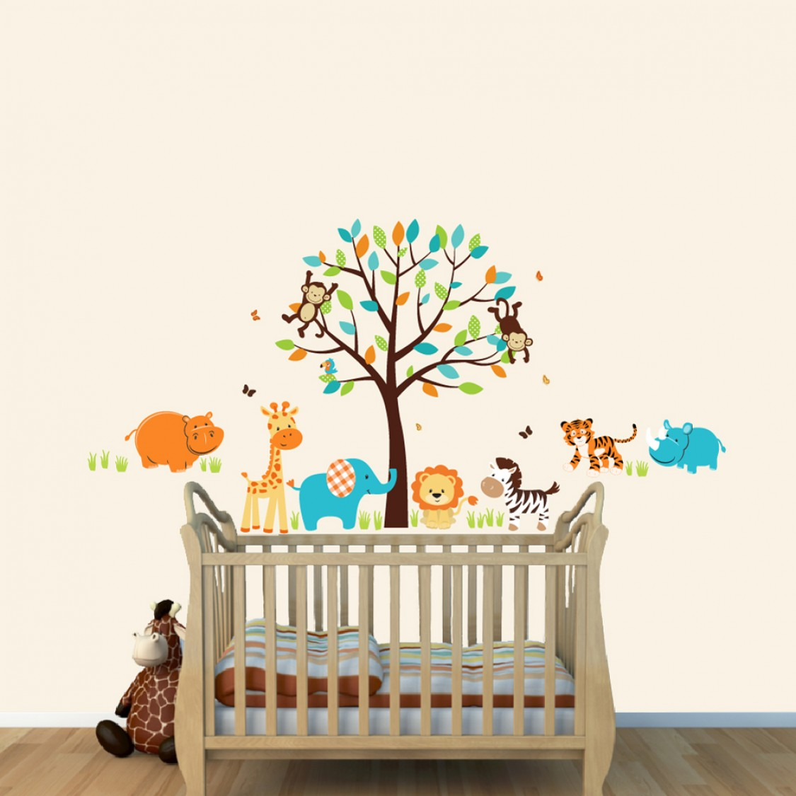 Jungle Wall Stickers For Nursery With Hippo Stickers For Kids Playroom