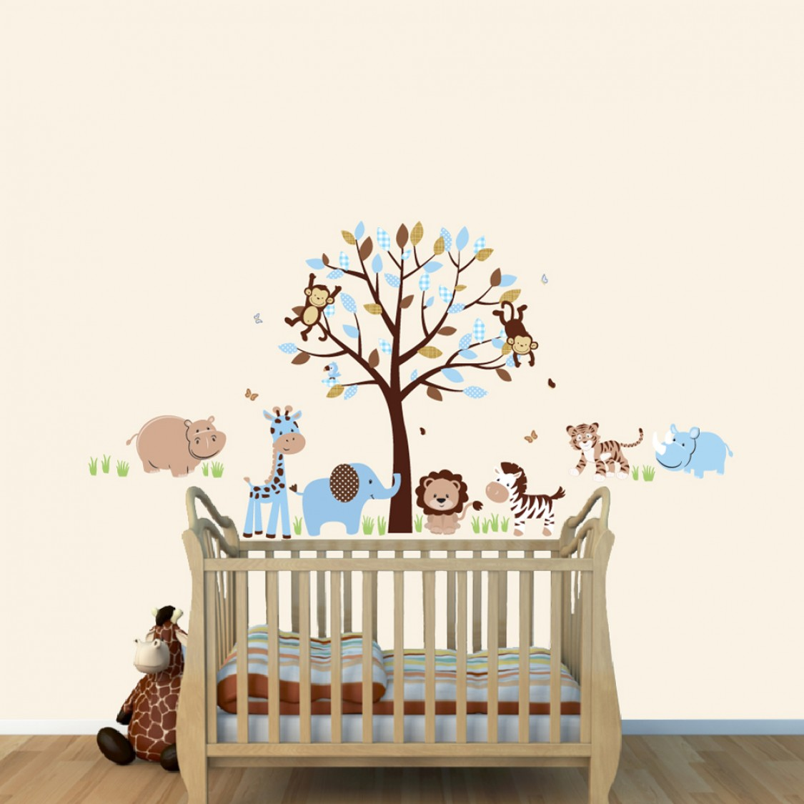 Blue & Brown Safari Wall Mural With Hippo Decals For Boys
