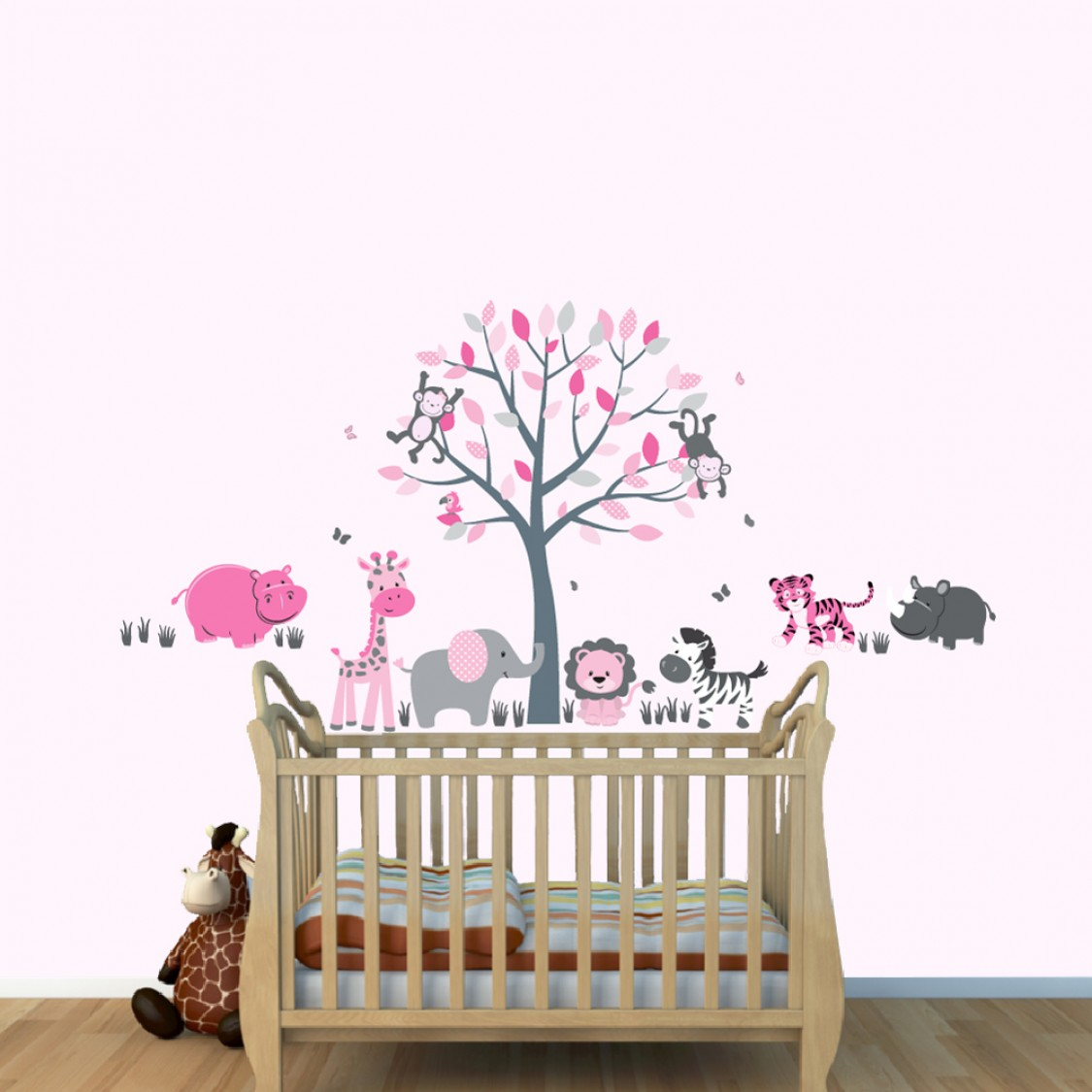 Pink and Gray Jungle Decals With Tiger Wall Decor For Boys Playroom