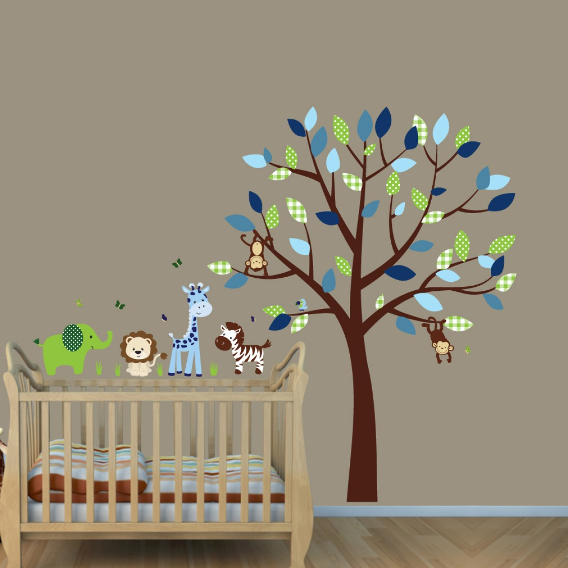 Green & Blue Jungle Tree Wall Decals With Giraffe Decals For Boys Rooms
