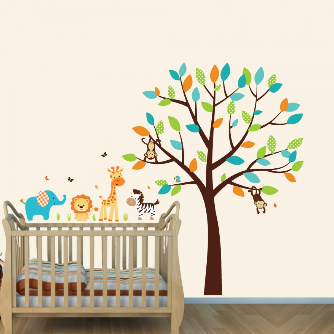 Jungle Wall Stickers For Nursery With Elephant Stickers For Kids Rooms