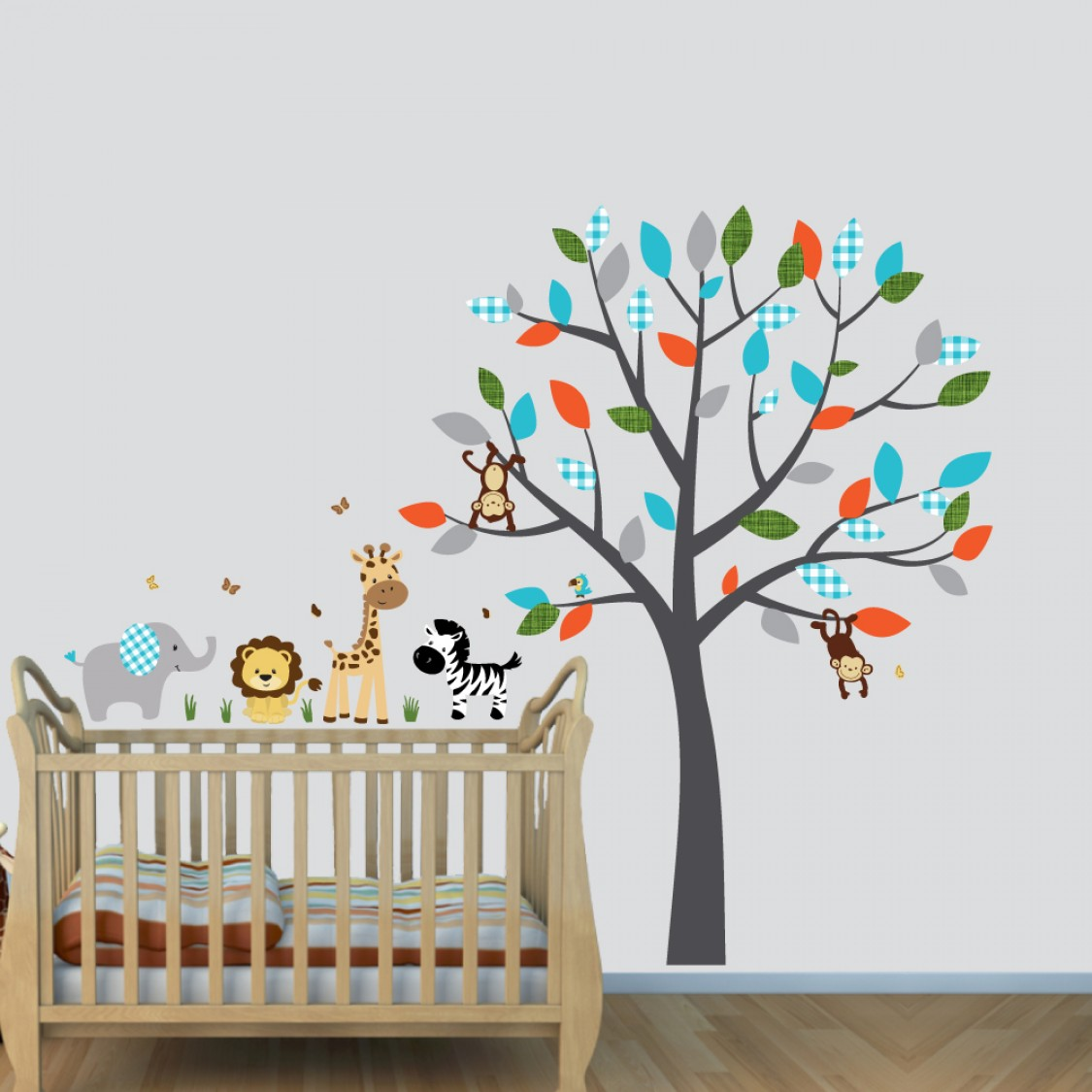 Colorful Wall Decals Jungle With Elephant Decals For Kids