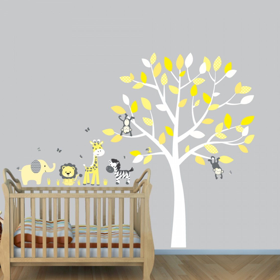 Gray Wall Decals With Jungle Animal Wall Art For Play Rooms