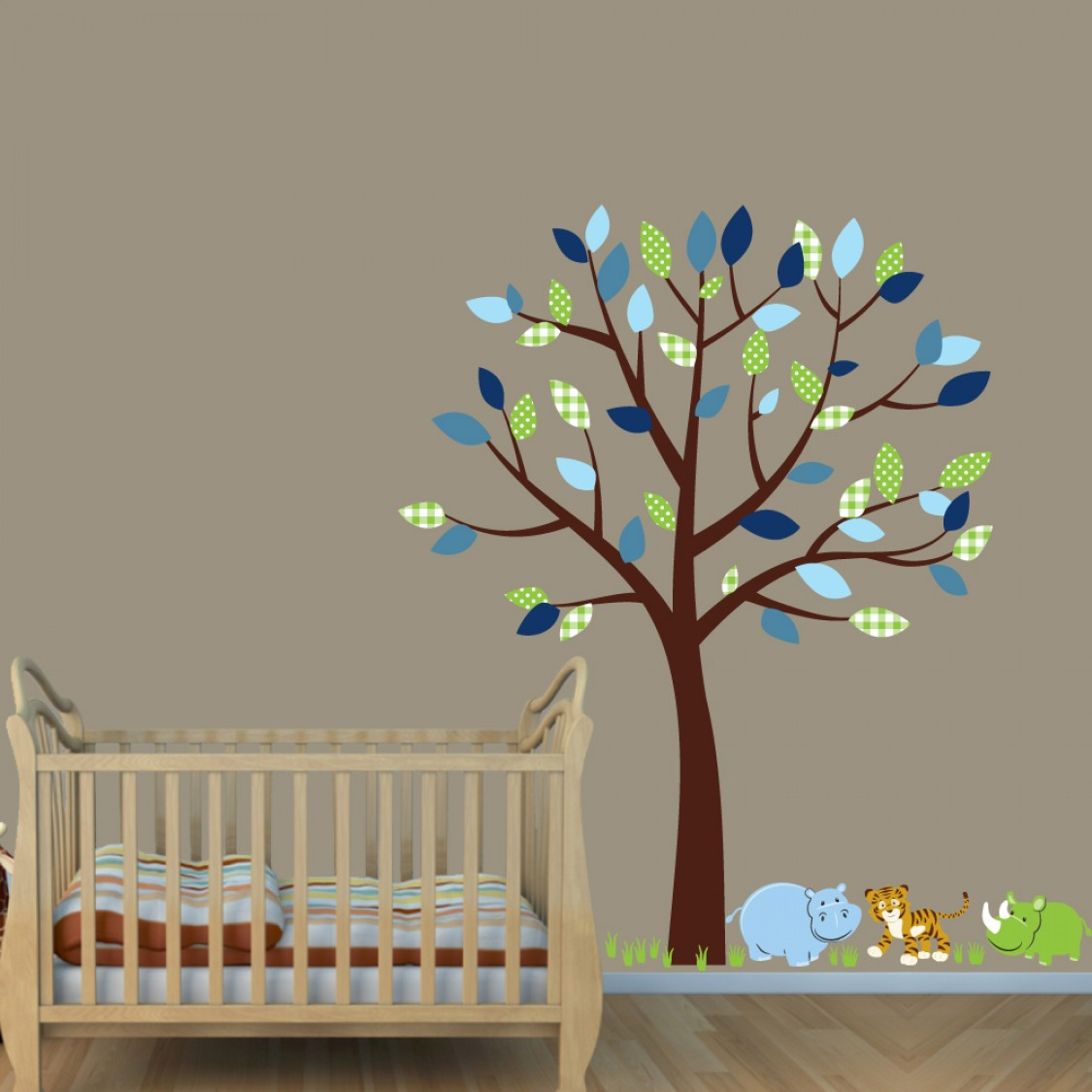 Green & Blue Jungle Tree Wall Decals With Hippo Decals For Childrens Rooms