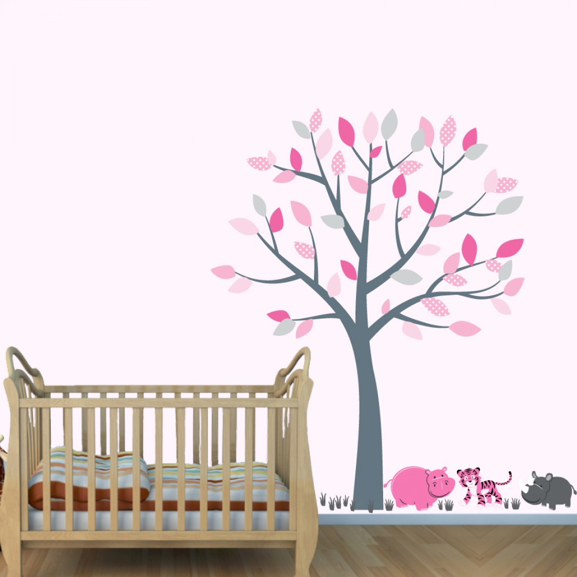 Pink and Gray Jungle Decals With Tiger Wall Decor For Boys Bedrooms