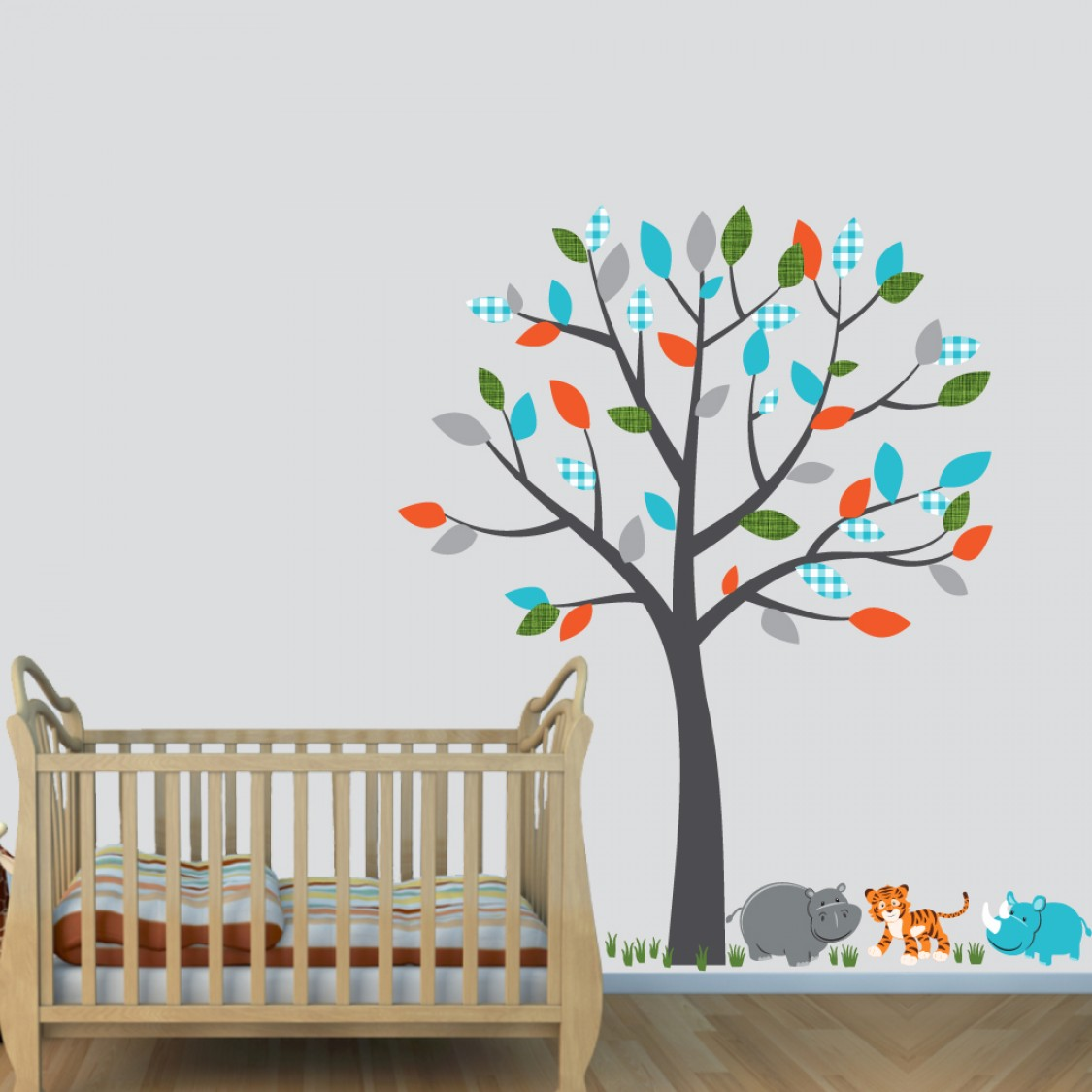Colorful Wall Decals Safari With Tiger Decals For Boys