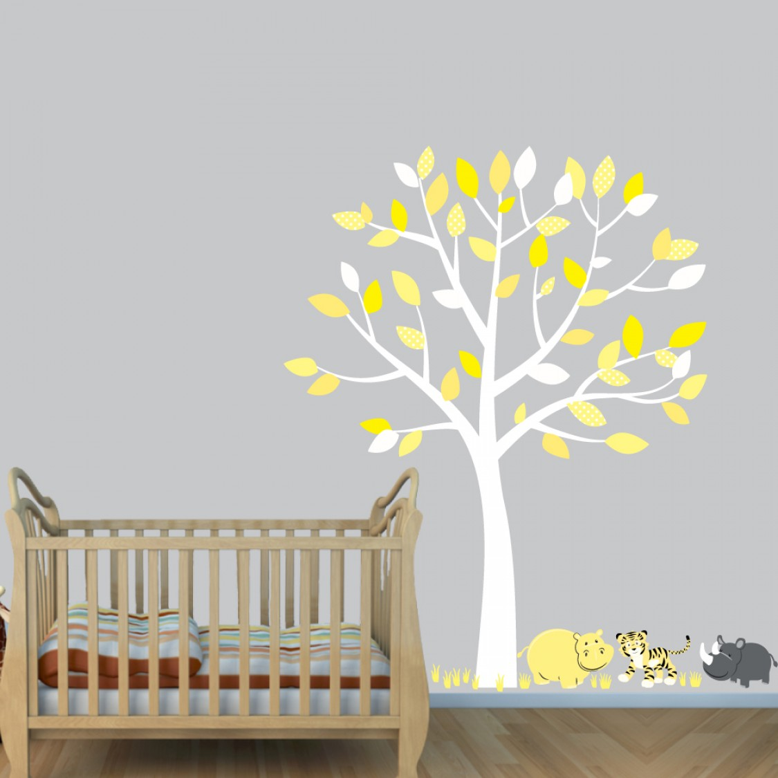 Yellow Jungle Stickers With Tiger Decals For Play Rooms