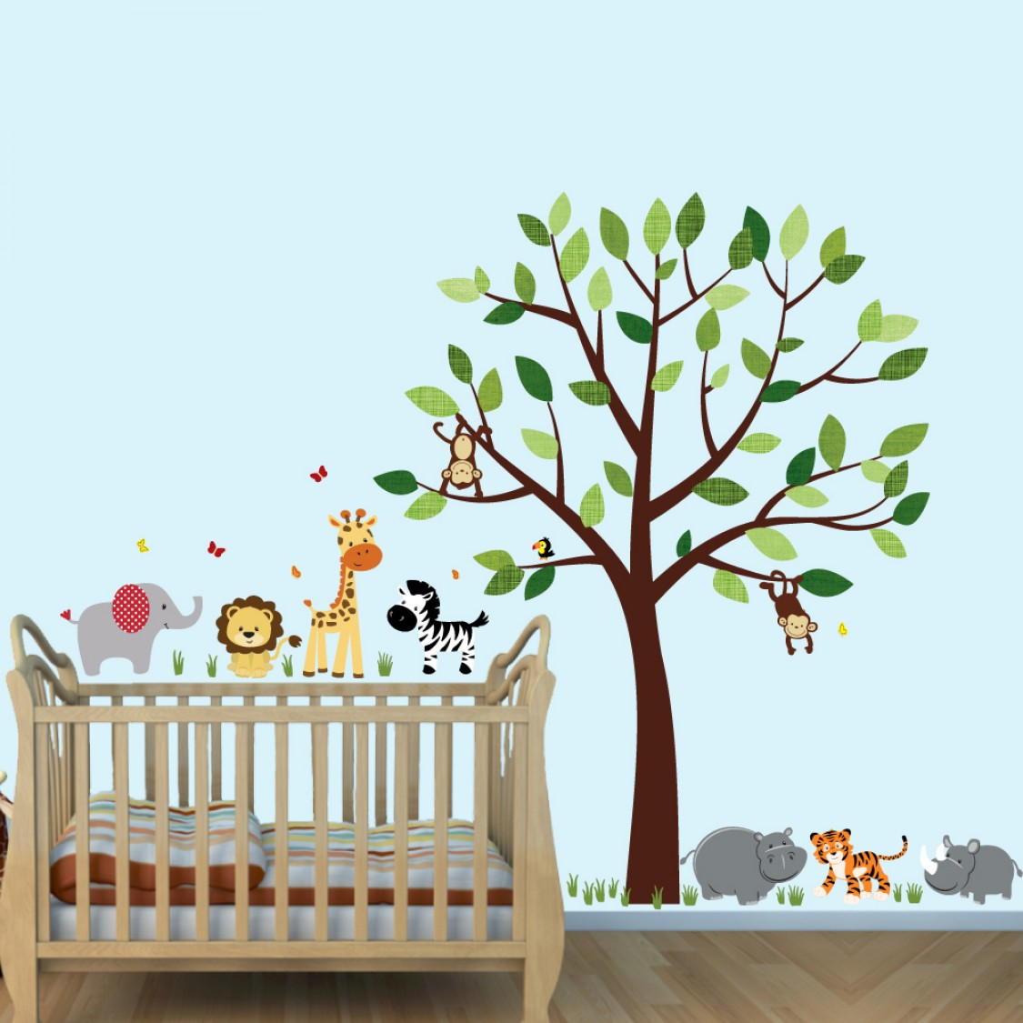 Green Safari Wall Stickers and Decals For Boys Bedrooms