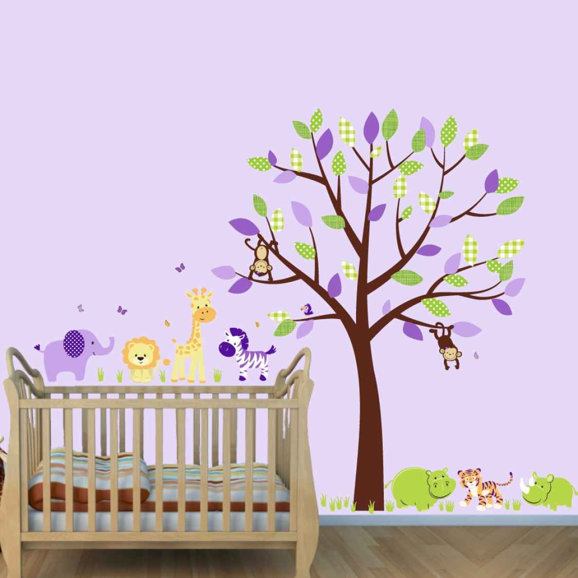 Purple Jungle Animal Murals With Hippo Wall Decal For Kids