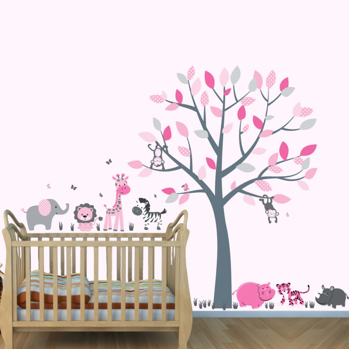 Pink and Gray Safari Decals With Elephant Wall Decor For Childrens Bedrooms