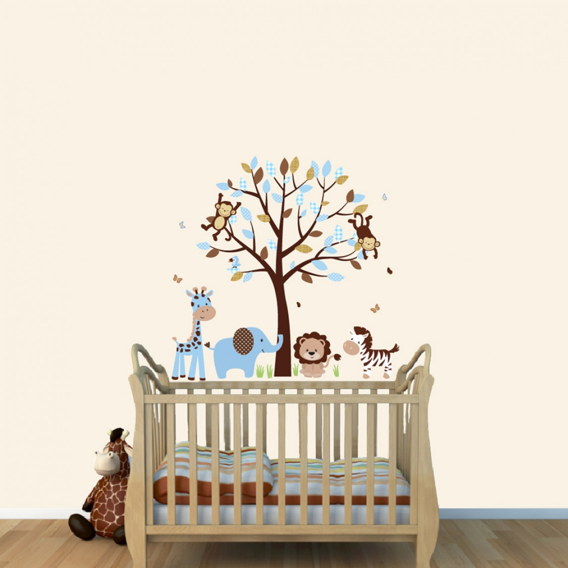 Blue Brown Jungle Wall Mural With Giraffe Decals For Kids