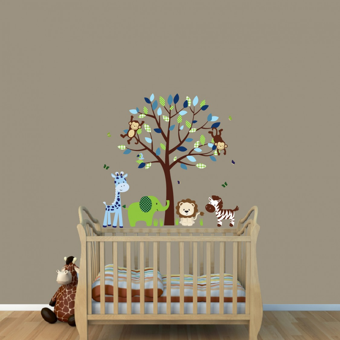 green blue jungle animal wall clings with elephant decal for nursery. Black Bedroom Furniture Sets. Home Design Ideas
