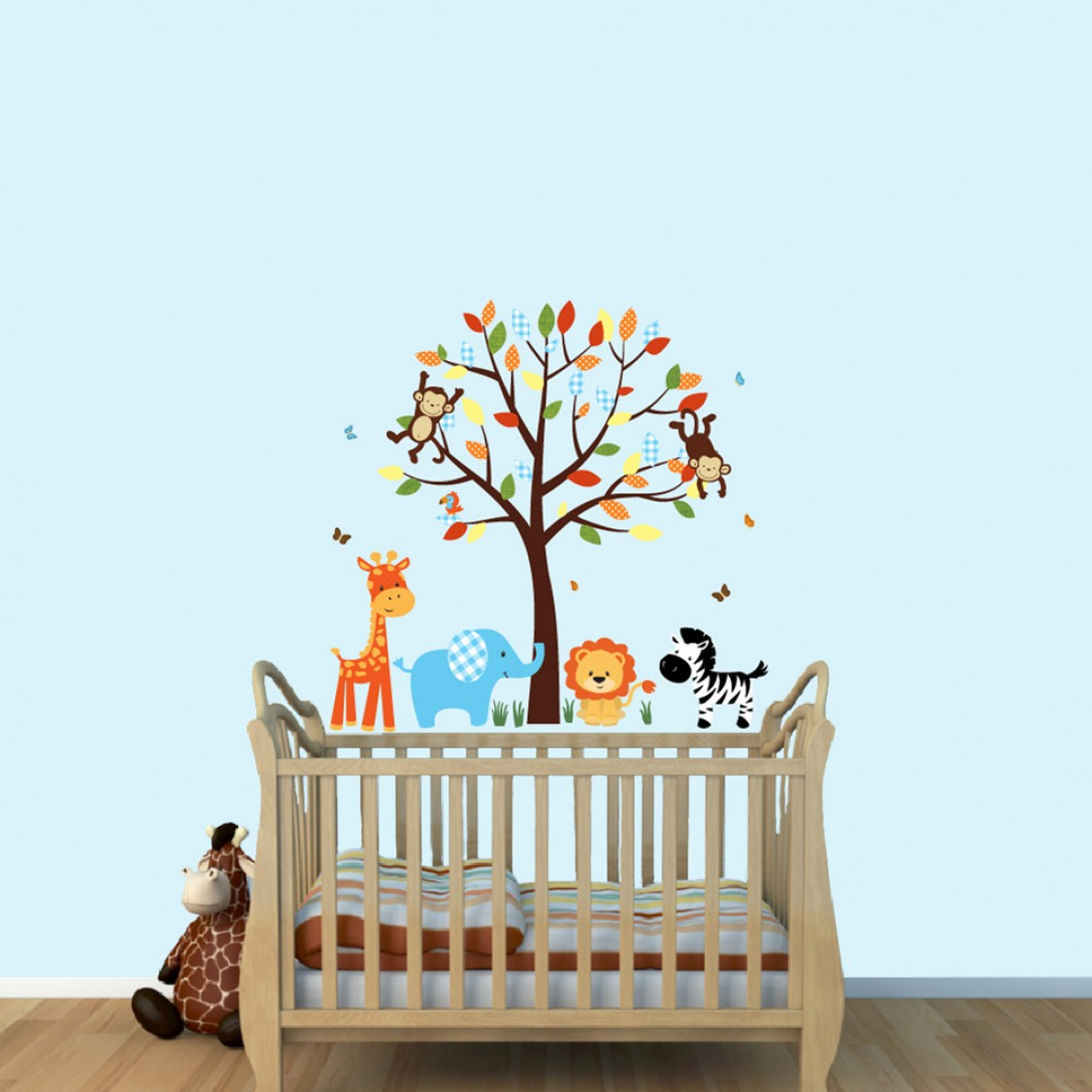 cheerful jungle tree wall decals with animal wall mural for nursery. Black Bedroom Furniture Sets. Home Design Ideas