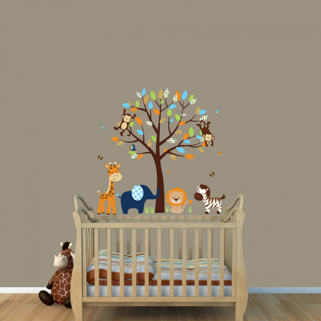 Blue Safari Nursery Wall Decals With Zebra Wall Decor For Childrens Playroom