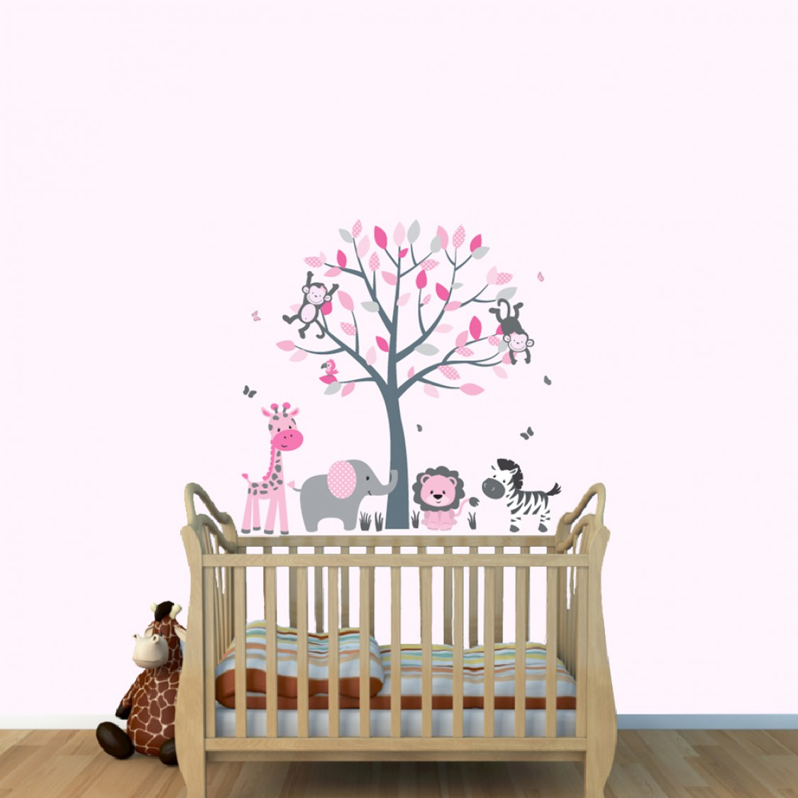 Pink and Gray Jungle Decals With Elephant Wall Decor For Girls Nursery