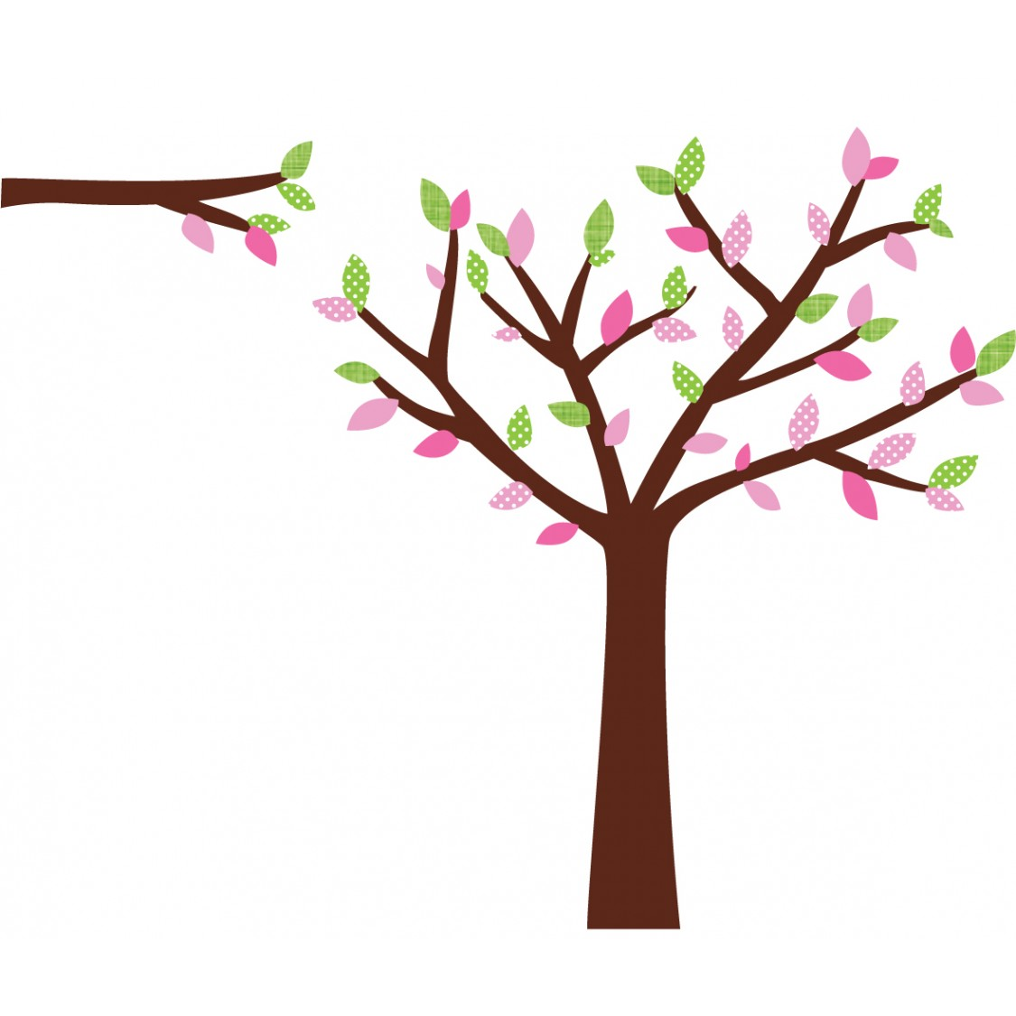 Pink and Green Wall Decal Tree For Girls Bedrooms