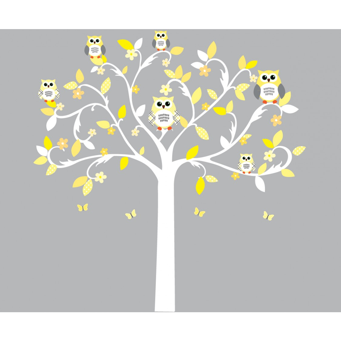 Yellow and Gray Scroll Tree Wall Stickers For Girls