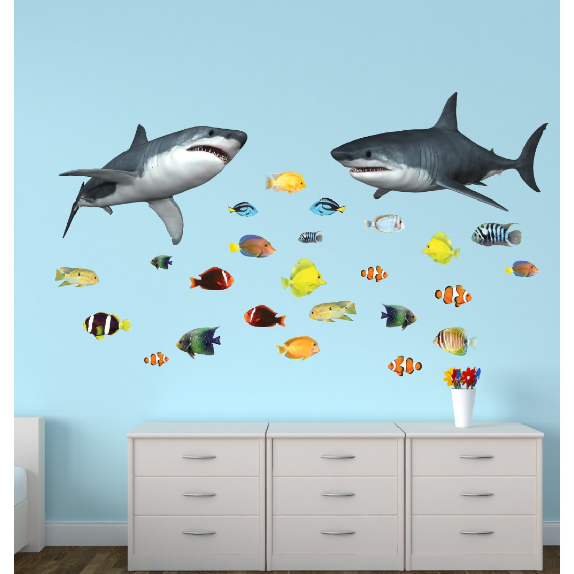 full size underwater murals underwater murals children wall decals wall stickers giant with shark wall decor for nursery or baby room