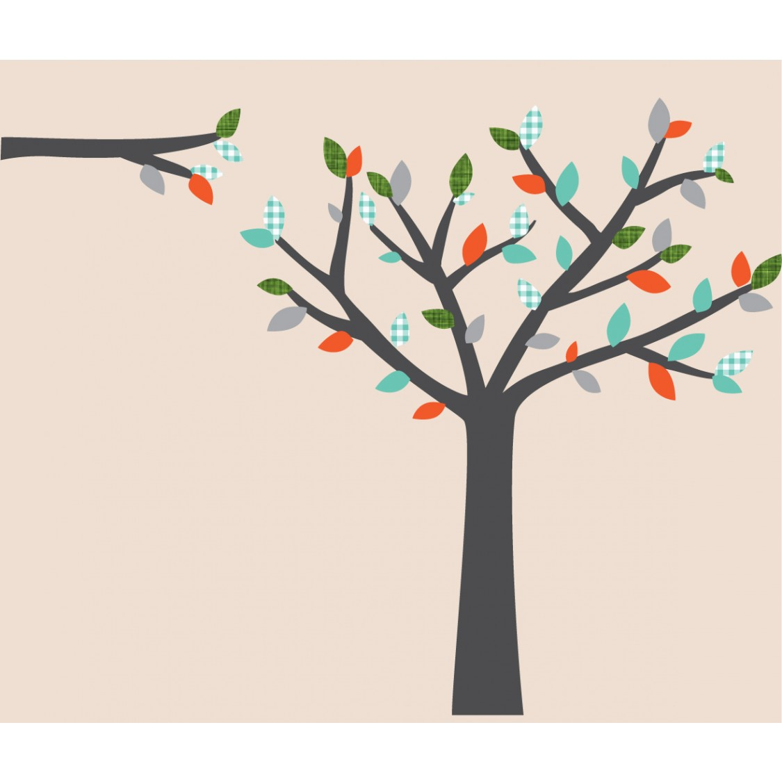 Gray and Orange Tree Branch Wall Decal For Boys Rooms