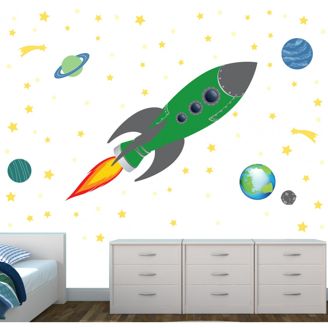 Space Rocket Wall Stickers Star Decals For Nursery Or Baby Room