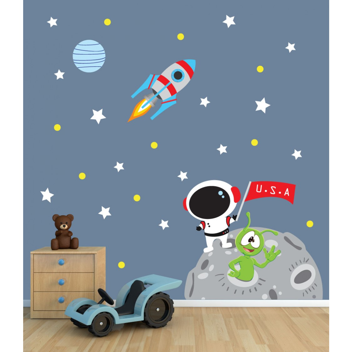 Space Rocket Wall Stickers Space Decals For Nursery Or Baby Room
