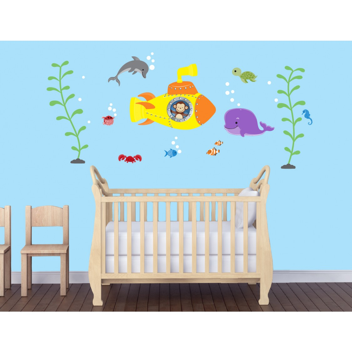 Ocean Wall Decals with Yellow Submarine Wall Stickers